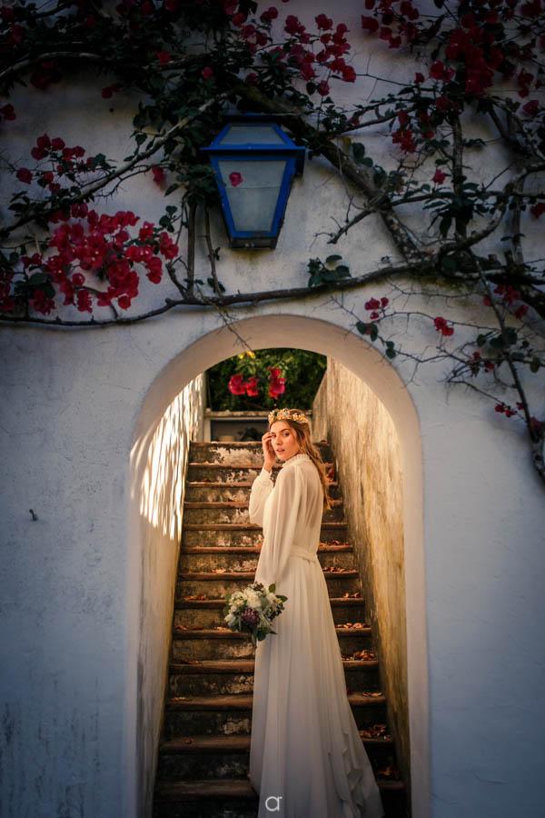 Quinta Senhor da Serra noiva nas escadas